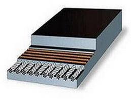 Металлокордовая конвейерная лента состоящая из верхней и нижней обкладки и слоёв стальных тросов.