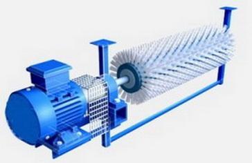 Ширина ленты 1000 мм, Ду щетины 350 мм, для движения ленты свыше 4 м/с, скорость вращения щетки — 950 об/мин. Ду ворса 2.0 мм . Материал -полистерол