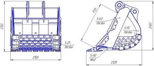 Ковш на гусеничный экскаватор Hitachi ZX870, ТСК