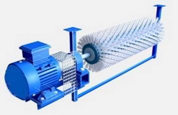 Ширина ленты 600 мм, Ду щетины 250 мм, для движения ленты свыше 4 м/с, скорость вращения щетки — 950 об/мин