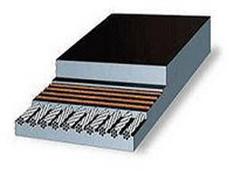 Металокордовая конвейерная лента состоящая из верхней и нижней обкладки и слоёв стальных тросов.