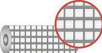 Футеровочная резина с квадратными керамическими вставками 25 × 25 мм в блоке профиля.TRS CERALAG SQ