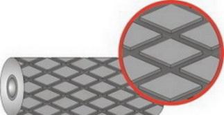 Резина футеровочная TRS MINI 60 8*2000*10000 мм, Ромб 33 мм × 17 мм