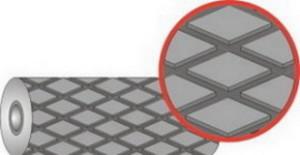 Футеровочная резина JUST-Grip 60 MINI 12*1500*10000 мм, Ромб 33 мм × 17*3 мм, Твердость 60 по Шору А