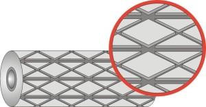 Футеровочная резина TRS CERALAG с керамическими вставками 15*385*8000мм, Ромб 25 мм × 25 мм, Паз между блоками: 5 мм, 10 мм, глубина 4 мм