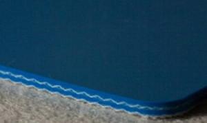 Двухслойная пищевая лента ПВХ синего цвета В-2.4 мм .Мин-ый диаметр вала, 30 мм. Рабочая температура °С -10/+80