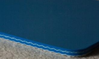 Двухслойная транспортерная пищевая лента ПВХ синего цвета .