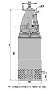 Габаритные размеры насоса MH 55 -75 SOLIDPUMP